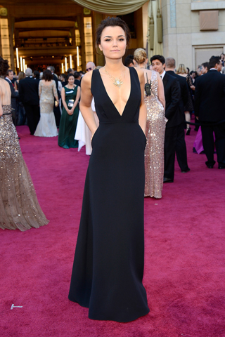 Samantha Barks, in Valentino, with Forevermark jewels