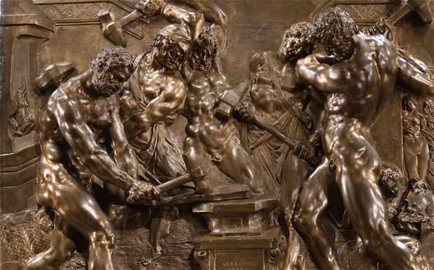Lò rèn của thần lửa (thần thợ rèn Hephaestus trong thần thoại Hy Lạp và là thần lửa trong thần thoại La Mã), tác phẩm sáng tác năm 1611 của nhà điêu khắc Adriaen de Vries (khoảng 1556–1626), được trưng bày trong triển lãm Bronze tại viện nghệ thuật Hoàng gia (Royal Academy of Arts)